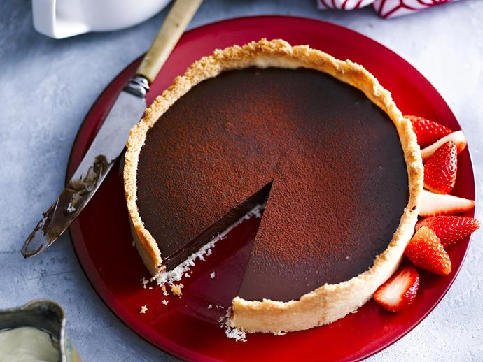 "**[Rich chocolate coconut tart](https://www.womensweeklyfood.com.au/recipes/rich-chocolate-coconut-tart-10104|target=""_blank"")**  Rich, chocolatey and utterly decadent, this gorgeous tart is made complete with a light coconut crust."