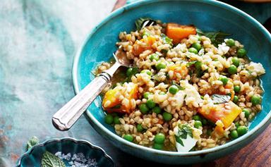 Pearl barley, pumpkin and pea risotto
