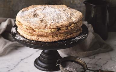 Hazelnut meringue coffee creme layer cake
