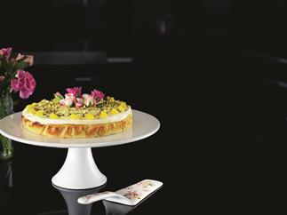 Lemon almond cake with rose, pistachios and Turkish delight