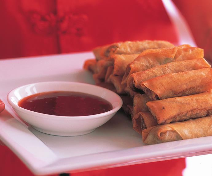 Spring rolls with chilli plum sauce