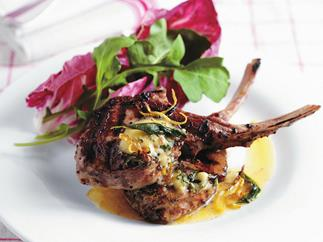 Veal cutlets with anchovy garlic butter
