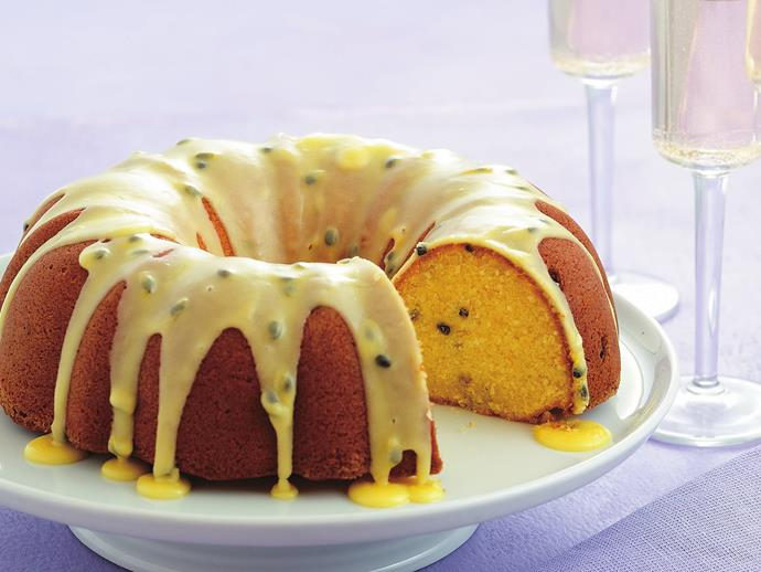 """**[Passionfruit buttermilk syrup cake](https://www.womensweeklyfood.com.au/recipes/passionfruit-buttermilk-syrup-cake-6552