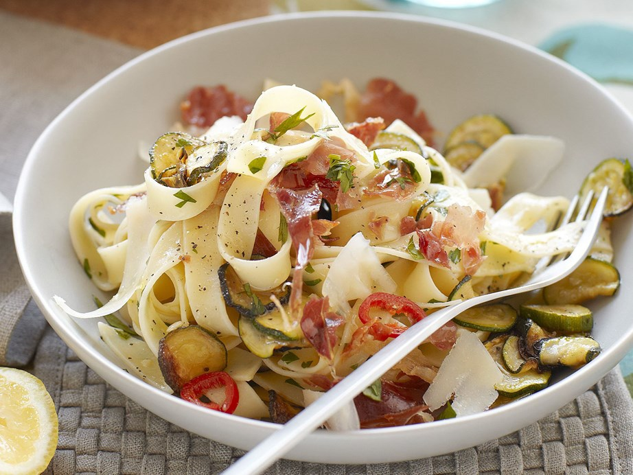 """**[Tagliatelle with zucchini and prosciutto](https://www.womensweeklyfood.com.au/recipes/tagliatelle-with-zucchini-and-prosciutto-20060