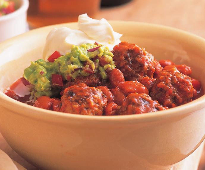 Mexican meatballs with guacamole
