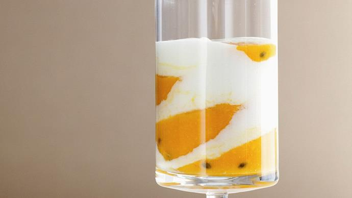 Low-fat mango and passionfruit fool