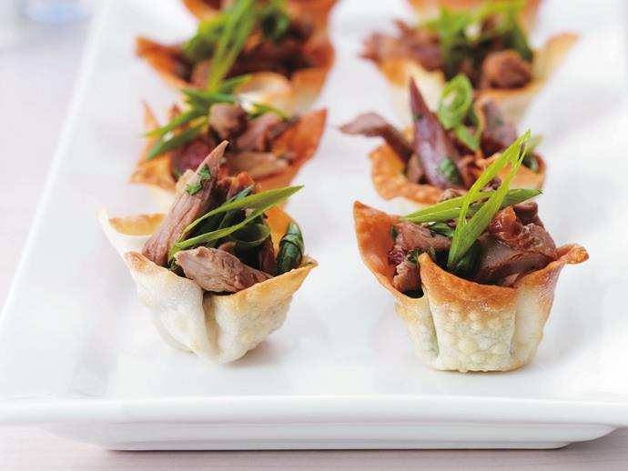 These [duck in crisp wonton cups](http://www.foodtolove.com.au/recipes/duck-in-crisp-wonton-cups-17854) are a sure-fire crowd pleaser.