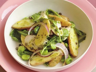 Warm potato and smoked chicken salad