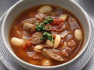 Bean and merguez soup with gremolata