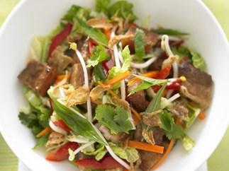 Crispy pork belly and wombok salad