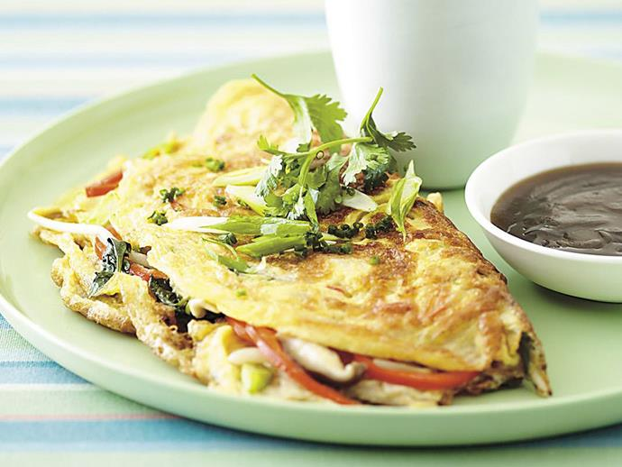 """**[Wok-seared mushroom omelettes](http://www.womensweeklyfood.com.au/recipes/wok-seared-mushroom-omelettes-6642 target=""""_blank"""")**  This Asian-styled wok-seared mushroom omelette is also stuffed with capsicum, chilli, sprouts, coriander and green onions. A lovely light lunch."""