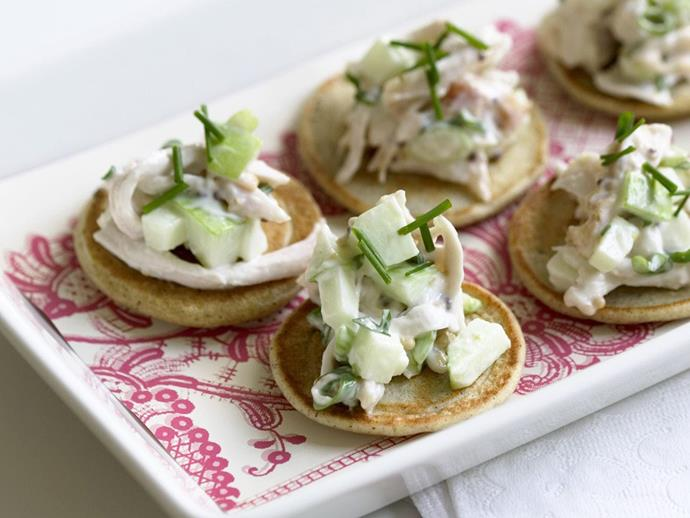 """**[Smoked chicken salad on blini](https://www.womensweeklyfood.com.au/recipes/smoked-chicken-salad-on-blini-9262 target=""""_blank"""")**  Home-made blinis are quite simple, but if you're short of time you can buy them and just make the topping."""