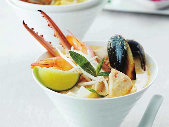 "This is a super-lux version of [seafood laksa](https://www.womensweeklyfood.com.au/recipes/seafood-laksa-6786|target=""_blank""), stuffed with crab claws, mussels, squid and prawns, all smothered in a fragrant, spiced laksa broth."