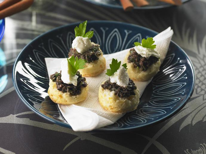 "[Mini parmesan scones with goats cheese & tapenade](https://www.womensweeklyfood.com.au/recipes/parmesan-scones-with-goats-cheese-and-tapenade-9267|target=""_blank"") make delicate, tasty little canapes."