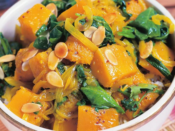 "**[Spinach and pumpkin curry](https://www.womensweeklyfood.com.au/recipes/spinach-and-pumpkin-curry-6373|target=""_blank"")**  Savoury and deeply satisfying, this vegetable curry is great as part of a banquet or as a meal on its own."