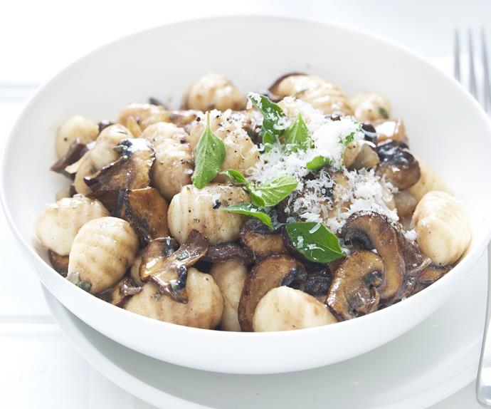Gnocchi with herb and mushroom sauce