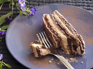 Chocolate mocha dacquoise terrine