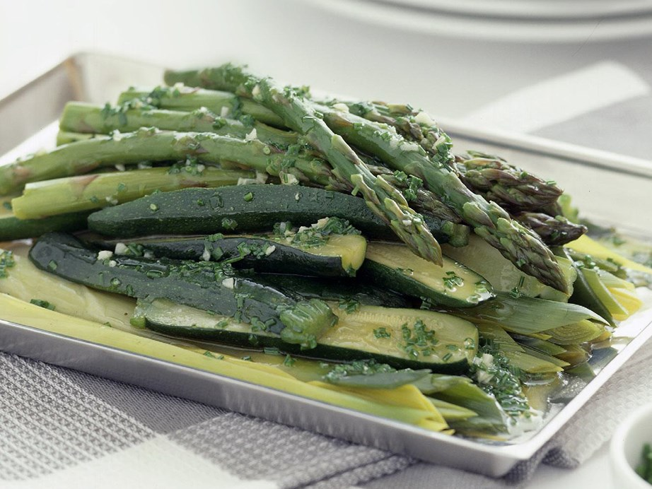 "**[Leeks, zucchini and asparagus with chive butter](https://www.womensweeklyfood.com.au/recipes/leeks-zucchini-and-asparagus-with-chive-butter-6785|target=""_blank"")**"