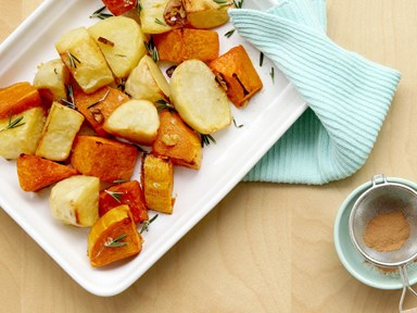 Roasted pumpkin and potato with sea salt, shaved garlic and fresh rosemary