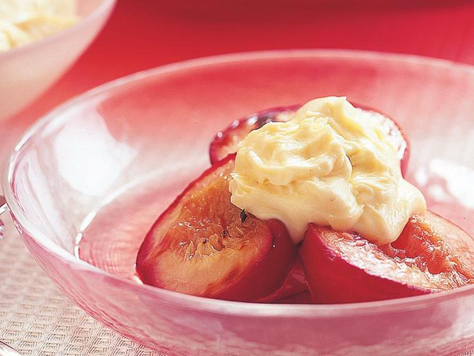 "**[Grilled peaches and nectarines with nougat mascarpone](https://www.womensweeklyfood.com.au/recipes/grilled-peaches-and-nectarines-with-nougat-mascarpone-6881|target=""_blank"")**  Grilling peaches and nectarines brings out the intense flavour of the fruit, which is beautifully complemented by the nougat mascarpone."