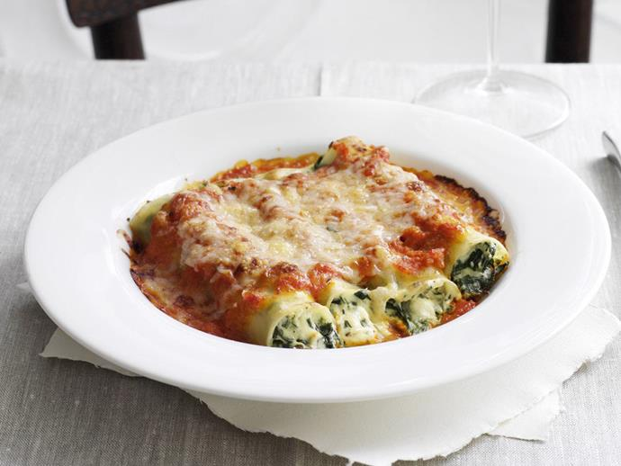 """An alternative to stuffing the tubes for this [spinach and ricotta cannelloni](https://www.womensweeklyfood.com.au/recipes/spinach-and-ricotta-cannelloni-with-olive-tapenade-23974