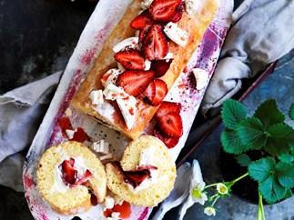Strawberries and cream WHITE CHOCOLATE ROULADE