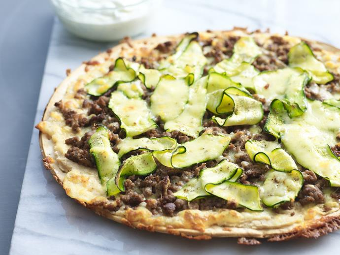 "**[Beef, white bean and zucchini pizza](https://www.womensweeklyfood.com.au/recipes/beef-white-bean-and-zucchini-pizza-14654|target=""_blank"")**  With a thin base and thin slices of zucchini, this is a crunchy pizza that combines simple yet stunning flavours for an easy and delicious meal."