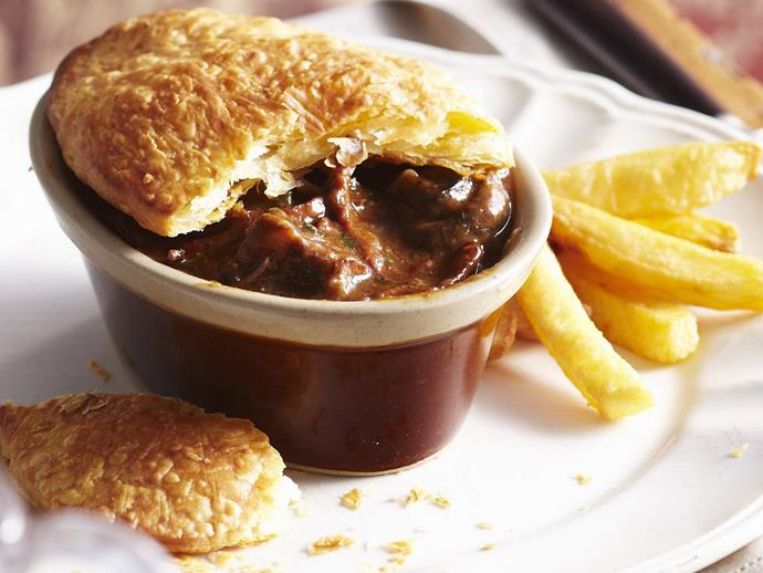 "[Beef bourguignon pies with chips](https://www.womensweeklyfood.com.au/recipes/beef-bourguignon-pies-with-chips-11508|target=""_blank"")"