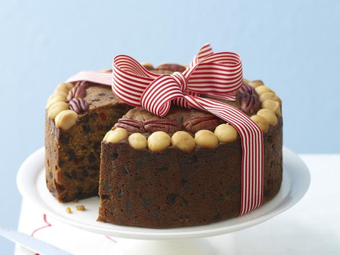 "**Boiled fruit cake** <br><br> Nothing says Christmas like a dense, plump fruit cake loaded with nuts, fruits, spices and cheeky splash of sherry. <br><br> [**Read the full recipe here**](https://www.womensweeklyfood.com.au/recipes/boiled-fruit-cake-12679|target=""_blank"")"