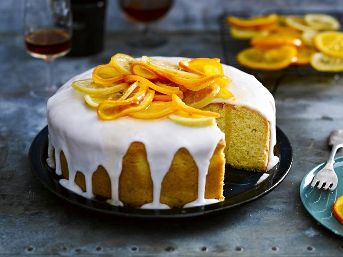 "Citrus lovers, this one's for you. A spongey [citrus cake](https://www.womensweeklyfood.com.au/recipes/buttery-citrus-orange-and-lemon-cake-6963|target=""_blank"") with glace icing and candied orange and lemon slices."