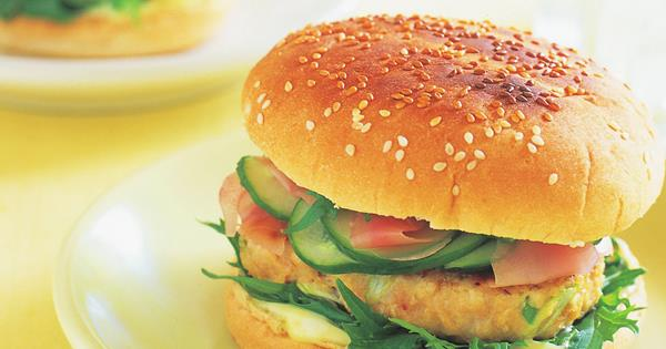 Asian Chicken Burger With Pickled Cucumber And Wasabi Mayonnaise Australian Women S Weekly Food