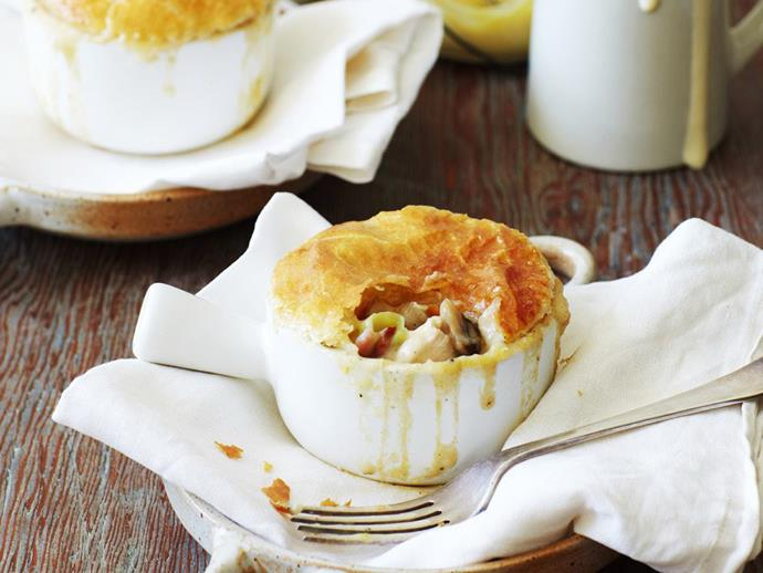 """The filling for these delicious little [chicken and mushroom pot pies](https://www.womensweeklyfood.com.au/recipes/chicken-and-mushroom-pot-pies-6547