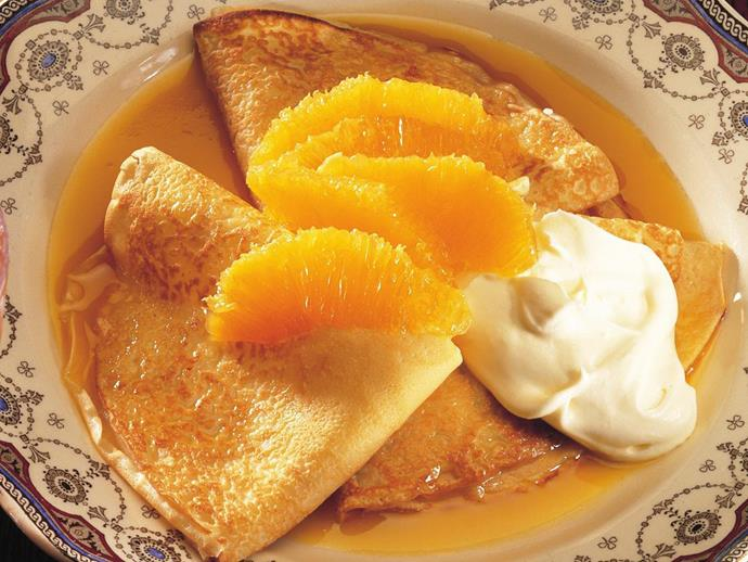 "You don't have to flambe at the table to make classic [Crepes Suzette](https://www.womensweeklyfood.com.au/recipes/classic-crepes-suzette-7091|target=""_blank""). Dress the dish with orange segments and a dollop of cream for a bit of extra oomph."