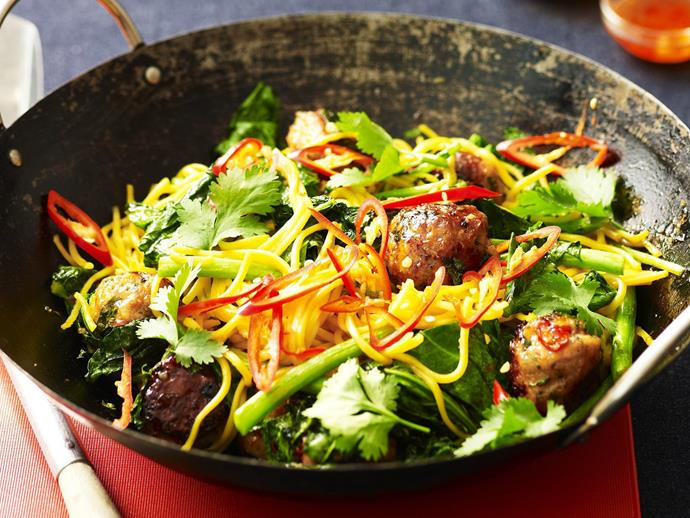 "One-wok dinners are a mid-week blessing, this [chicken meatball noodle stir fry](https://www.womensweeklyfood.com.au/recipes/chicken-meatball-noodle-stir-fry-14665|target=""_blank"") is bound to become a firm favourite."