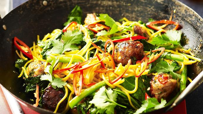 Chicken meatball noodle stir-fry