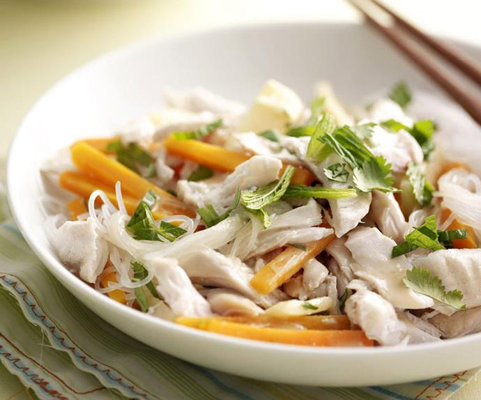 Coconut-poached chicken on thai vermicelli salad