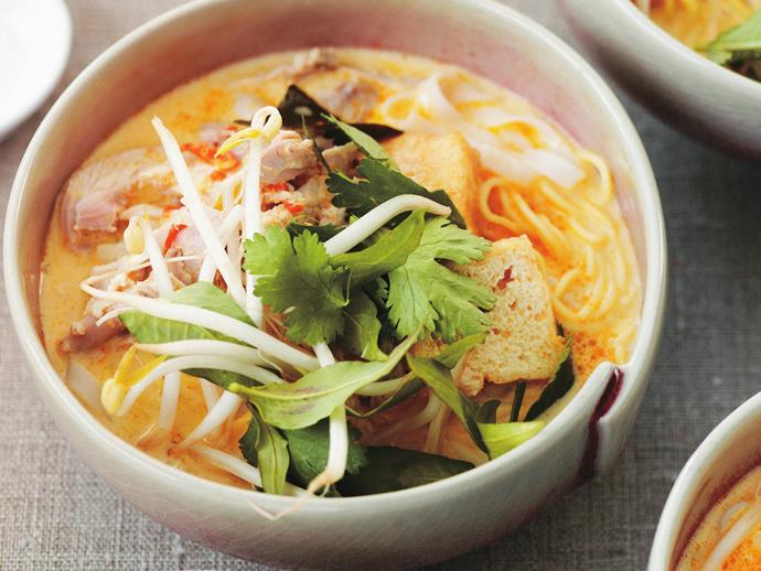 "Spicy chicken noodle soup, [chicken laksa](https://www.womensweeklyfood.com.au/recipes/chicken-laksa-6820|target=""_blank"") is like soul food with fire. Quick, easy and nourishing, this is the perfect hump day dinner."