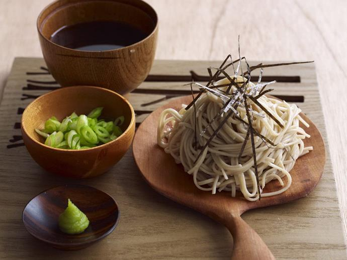 "This simple platter of [chilled soba noodles](https://www.womensweeklyfood.com.au/recipes/chilled-soba-noodles-6606|target=""_blank"") with dipping sauce, spring onions, nori and wasabi is a complete taste sensation."