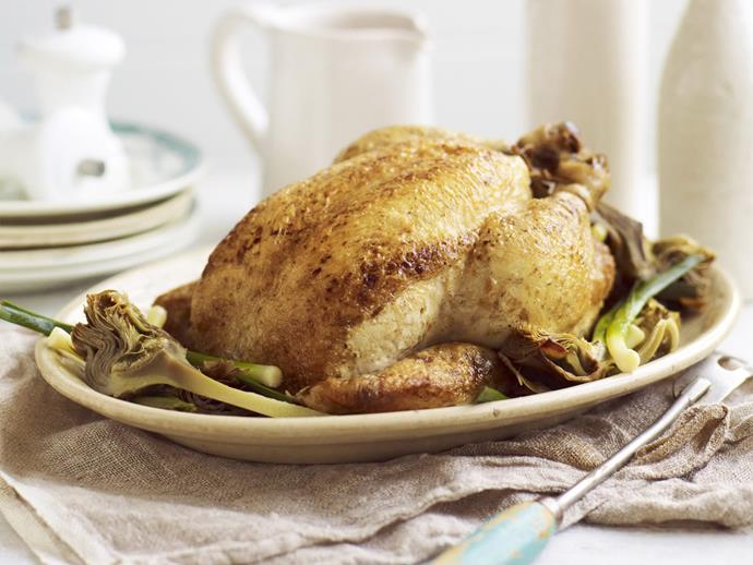 """**[Chicken with leeks and artichokes](https://www.womensweeklyfood.com.au/recipes/chicken-with-leeks-and-artichokes-13729