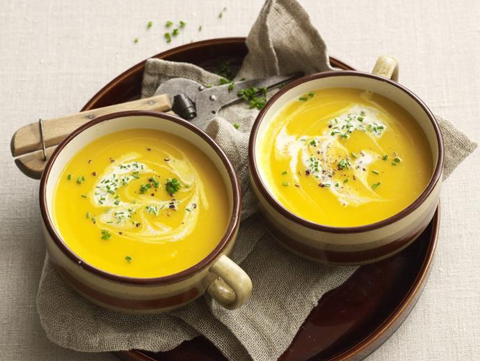 "**[Slow cooked pumpkin soup](https://www.womensweeklyfood.com.au/recipes/slow-cooked-pumpkin-soup-28620|target=""_blank"")**  Hot, creamy and hearty, this beautiful comfort food recipe is absolutely beautiful and fragrant after [slow cooking](http://www.womensweeklyfood.com.au/foodie-facts/adapting-recipes-for-slow-cooker-1432