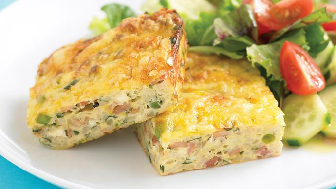 Zucchini slice with simple garden salad