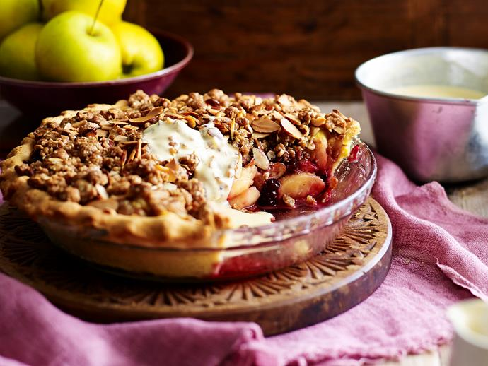 "Combine two of the most comforting desserts, sweet pie and fruit crumble, to make this indulgent winter warmer to curl up on the couch with. This [apple and blackberry crumble pie](https://www.womensweeklyfood.com.au/recipes/apple-crunch-pie-with-vanilla-bean-custard-28623|target=""_blank"") goes beautifully with a dollop of ice-cream or fresh cream."