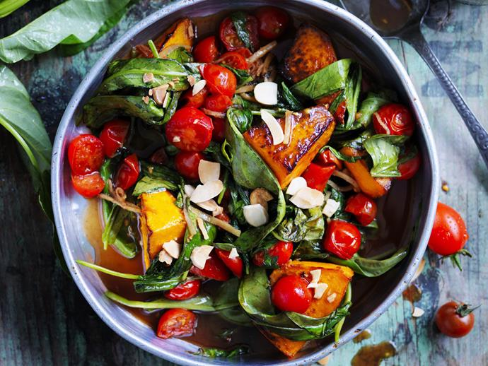 "**[Stir-fried pumpkin, water spinach and tomatoes](https://www.womensweeklyfood.com.au/recipes/stir-fried-pumpkin-water-spinach-and-tomatoes-with-five-spice-28628|target=""_blank"")**  Light, fresh and tasty, this beautiful vegetarian pumpkin stir-fry is full of nutrients. Enjoy on the side of a dinner spread or on it's own with some steamed rice."