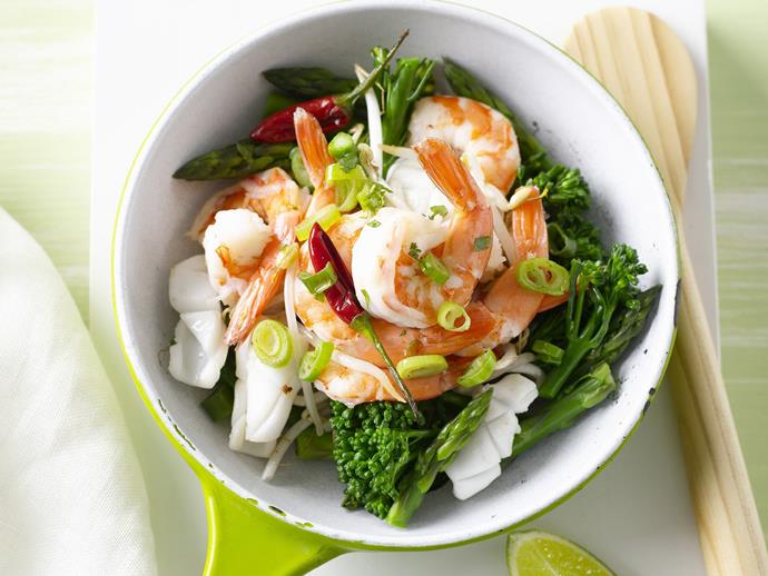 """**[Garlic seafood stir-fry](https://www.womensweeklyfood.com.au/recipes/garlic-seafood-stir-fry-28630