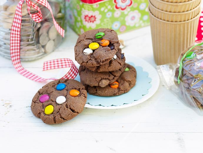 "**[Spotty cookies](https://www.womensweeklyfood.com.au/recipes/spotty-cookies-11722|target=""_blank"")**  Colourful, chocolatey and utterly moorish, these tasty spotty cookies are perfect for a bake stall or school fete."