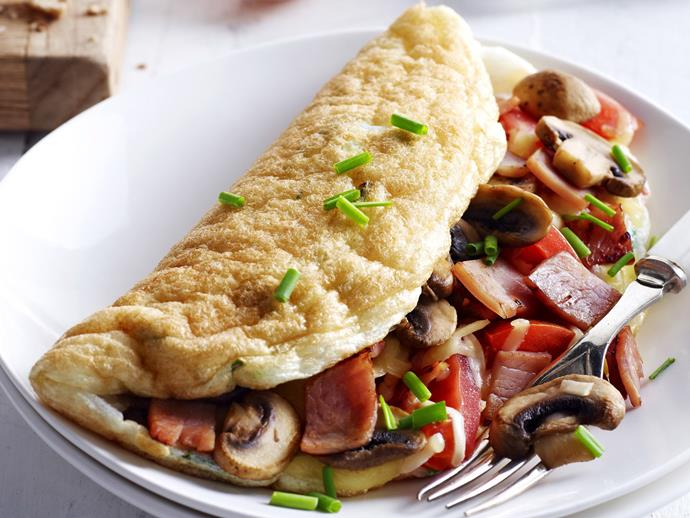 "**[Egg white omelettes](http://www.womensweeklyfood.com.au/recipes/egg-white-omelettes-6397|target=""_blank"")** Fluffy and light as air, this egg white omelette is stuffed with mushrooms, bacon, herbs and cheese."