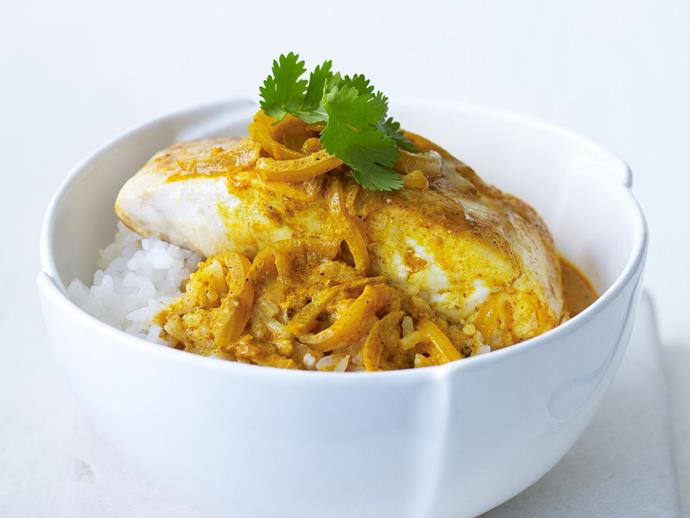 "This incredibly simple [fish curry](https://www.womensweeklyfood.com.au/recipes/fish-curry-9273|target=""_blank"") uses ginger, garam masala, paprika and turmeric to add flavour without heat, and buttermilk for a smooth, creamy finish."