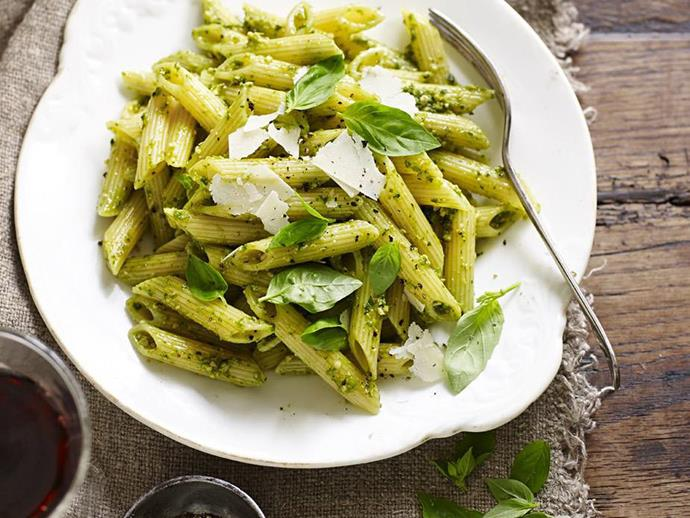 "We've used penne in this [fresh pesto pasta recipe](https://www.womensweeklyfood.com.au/recipes/fresh-pesto-pasta-6336|target=""_blank""), but spaghetti, fettuccine and gnocchi work just as well. Save a couple of small basil leaves to finish the dish when serving."
