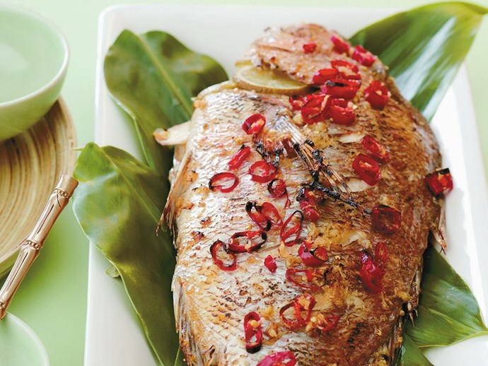 Ginger and chilli baked fish