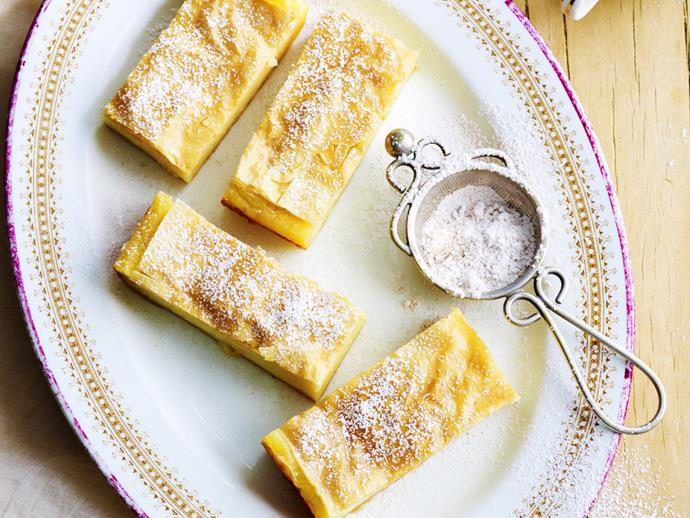 "Layers of flaky pastry and semolina custard soaked in lemon syrup makes this traditional Greek custard pie an irresistible treat. Serve [galaktoboureko](https://www.womensweeklyfood.com.au/recipes/galaktoboureko-greek-custard-pie-6414|target=""_blank"") for afternoon tea or as dessert."